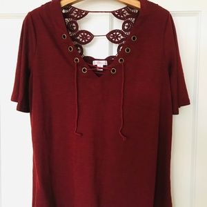 Xhilaration Lace Front Maroon Top